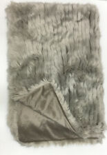 """Harlow Faux Fur Throw Blanket Oyster Soft Luxurious, 50""""x 70"""""""