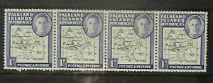 Falkland Islands Dependencies 1946 a strip of 4 1d stamps, mint never hinged
