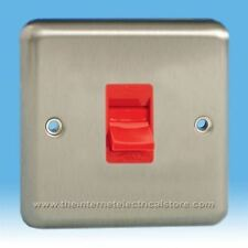 Varilight 45A Cooker Switch in Standard plate Mirror Chrome with Red Inserts