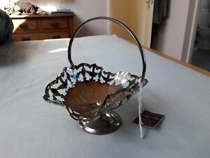 Vintage Silver plated Bonbon Dish Basket Style with handle