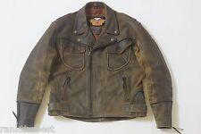 Harley Davidson Men's Billings Distressed Brown Leather Jacket Winged HD Logo XL