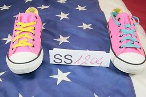 Chaussures converse N.37 (Code SS1204) Femme Toile Bas Used Rose Fluorescentes