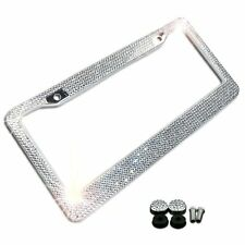 Zone Tech Metal License Plate Frame Bling Rhine Stones Chrome Crystal Diamond