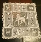 Antique  Figural Handmade Italian Cutwork  Filet Lace Embroidery Doily Mat