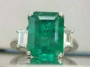 Green Emerald Three Stone Dinner Ring 925 Sterling Silver Fine Jewelry for Women