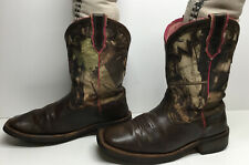VTG WOMENS ARIAT ATS SQUARE TOE COWBOY BROWN BOOTS SIZE 6 B