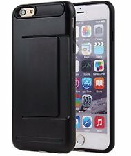For iPhone SE / 5S - HARD HYBRID BLACK CASE COVER w/ CREDIT CARD ID SLOT POCKET