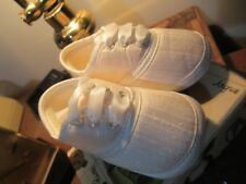 Collins & Hall Baby Pram shoes. size 3. New. Cream silk with ribbon laces.