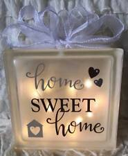 LED HOME SWEET HOME Glass Light Up Block Quote Lamp Gift HOME DECOR