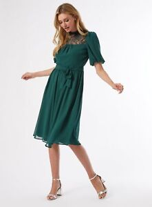 Dorothy Perkins Womens Forest Green Lace Yoke Chiffon Skater Dress Wear