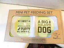 Pet Dog Feeding Bowl Food Dish Feeder 2 Section