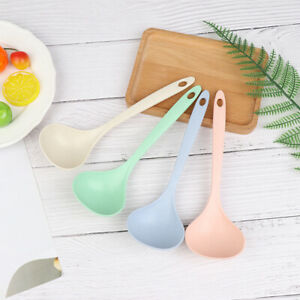 3Pcs Long Handle Soup Spoon Wheat Straw Rice Ladle Tableware Kitchen Accessoridn