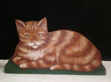 Vintage Hand Painted Wood Tabby Cat Shelf Sitter Signed Folk Art Ginger Cat Ook