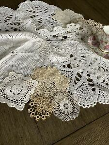 Vintage Cotton Crocheted Lace Doilies Lot Of 12 💖