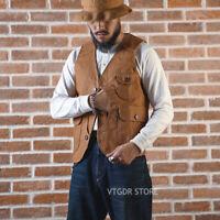 Brosnon Outdoor Game Pocket Canvas Vest Vintage Men's Waistcoat Slim Fit Khaki