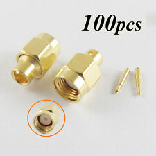 "100x SMA Male Plug Solder For Semi-Rigid RG402 0.141"" Cable RF Connector adapter"