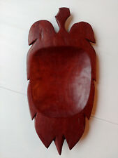 """Hand carved leaf shaped wooden bowl 13 3/4""""/350mm long. 20thC African."""