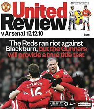 Football Programme>MAN UTD v ARSENAL Dec 2010