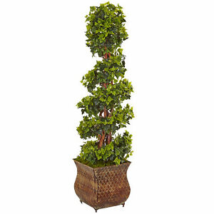 English Ivy Spiral Tree In Metal Planter UV Resistant Nearly Natural 4' Decor