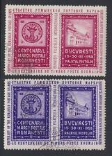 Romania Stamp Centenary 2 Cinderella Poster Stamps canceled 1958