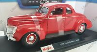 MAISTO 1:18 Scale Diecast Model Car 1939 Ford Deluxe Coupe in Red
