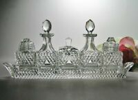 Vintage CUT CRYSTAL Glass CRUET  * Exquisite 6 pce CONDIMENT SET ~ FINE DINING