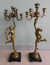 Huge 74cm Antique Pair Gilt Bronze Figurine Candle Holders 20thC. Hermes &Maiden