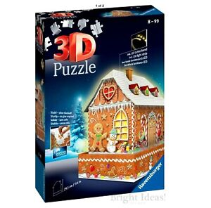 RAVENSBURGER. 3D PUZZLE WITH LIGHTS. Gingerbread House. 216 PCS. NR. 11237 NEW