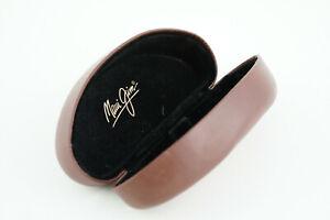 RARE Leather MAUI JIM Brown Hard Clamshell Sunglasses Protective Case