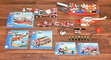 Big Lego City set Lot 7213 7206 7207 7942 Fire Rescue Boat Helicopter Truck car