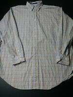 Daniel Cremieux Mens Shirt Size L Blue Brown Check Long Sleeve Button Down