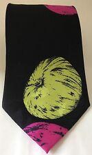 Vintage Oscar De La Renta Men Neck Tie Black Paisley Floral 100% Silk USA Made