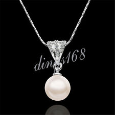 18K White Gold Filled Hypo-Allergenic Large Pearl Crystal Pendant+Chain H089