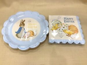 Meri Meri Peter Rabbit Happy Easter Blue 20 Napkins 12 Paper Plates Set