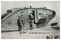 Antique WW1 military printed postcard The Tank Bank After Business Hours