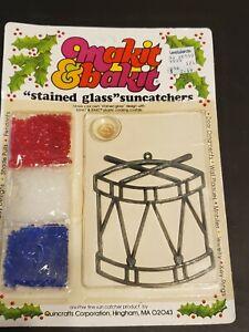 Vintage Makit & Bakit Stained Glass Suncatcher Christmas Drum