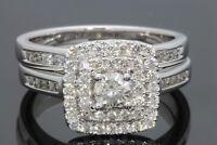 14K WHITE GOLD 1.10 CARAT WOMENS REAL DIAMOND ENGAGEMENT RING WEDDING BAND SET