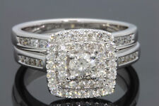 14K Oro Blanco 1.10 Quilates Mujer Real Anillo de Compromiso Diamante De