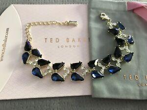 Ted Baker Blue & Black Teardrop Crystal Bracelet Gold Tone