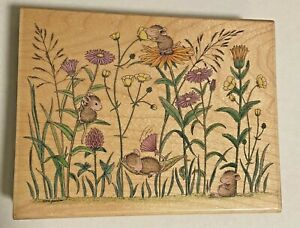 """House-Mouse wood mounted rubber stamp """"Relaxing Wild Flowers"""" 1986"""