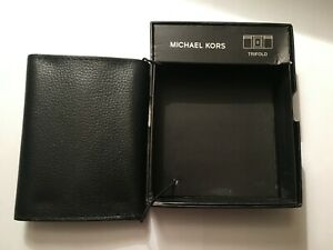 Michael Kors Full Grain Black Leather Trifold Wallet