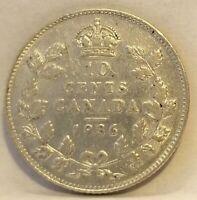 1936 CANADA SILVER TEN CENTS Coin