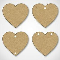 MDF Hearts Shapes Wooden Craft Blank Embellishments - With Hanging Hole Options