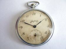 Vintage Russian Molnia Open Face Pocket Watch 18 Jewels 1960's