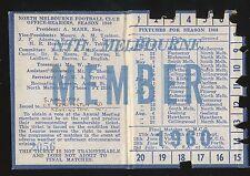 1960 North Melbourne Membership season Ticket Kangaroos