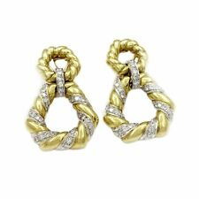VINTAGE 18KT. YELLOW GOLD AND DIAMOND DOORKNOCKER EARRINGS