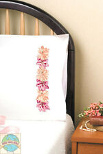Embroidery Kit ~ Design Works Pink Floral Flowers PILLOWCASE PAIR #T232115