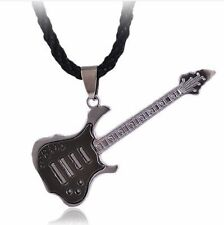 Guitar Music Rock Roll Pendant Necklace Steel Chain Fashion Stainless Metal
