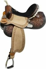 "14"" Double T Barrel Racing Racer Conchos Suede Roughout Tooled Leather Saddle"