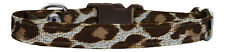 """fabric brown and cream leopard print chihuahua dog puppy collar 6""""-8"""" xs"""